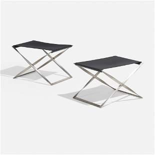 Poul Kjaerholm, PK91 folding stools, pair