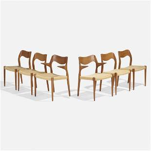 Niels O. Moller, Dining chairs model 71, set of six