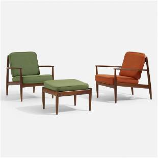 Grete Jalk, Lounge chairs model 118, pair with ottoman