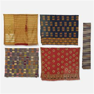 African and Asian, Collection of five textiles
