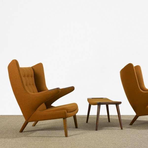 185: Hans Wegner Papa Bear chairs, pair and ottoman