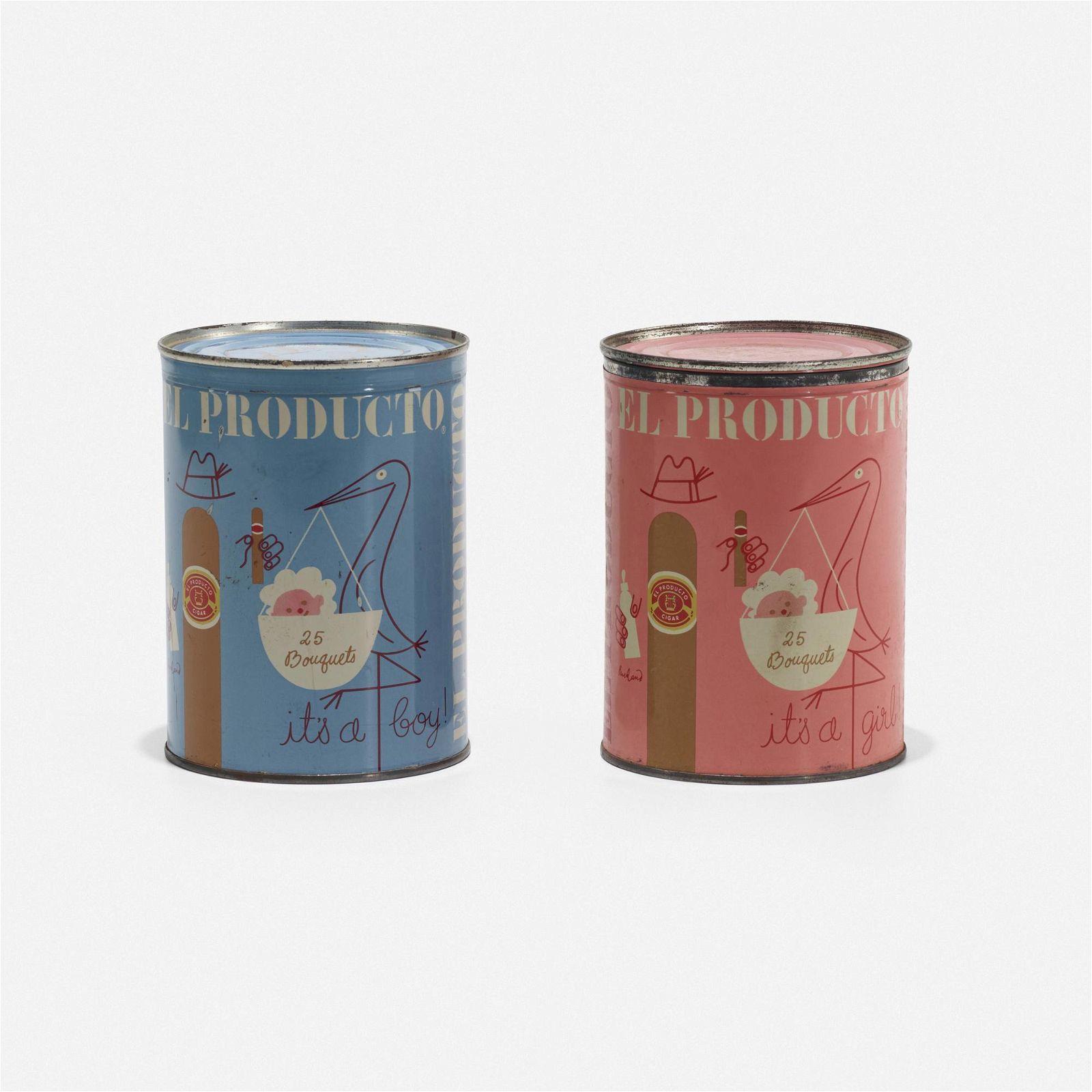 Paul Rand, El Producto cigar tins, pair