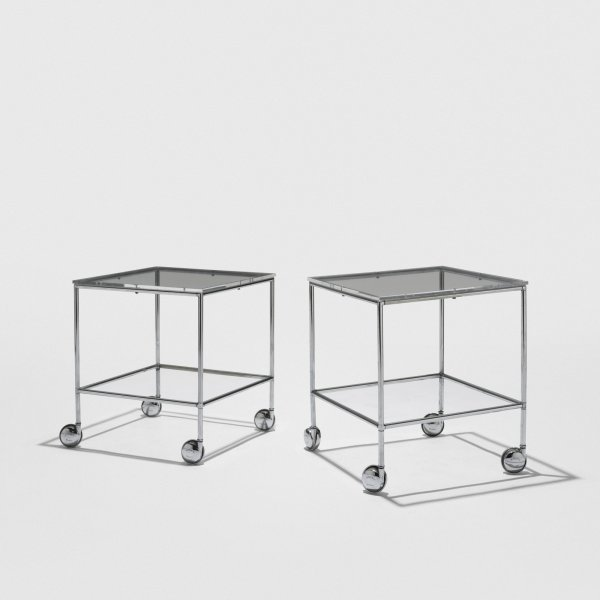 519: Paul Rudolph rolling occasional tables, pair