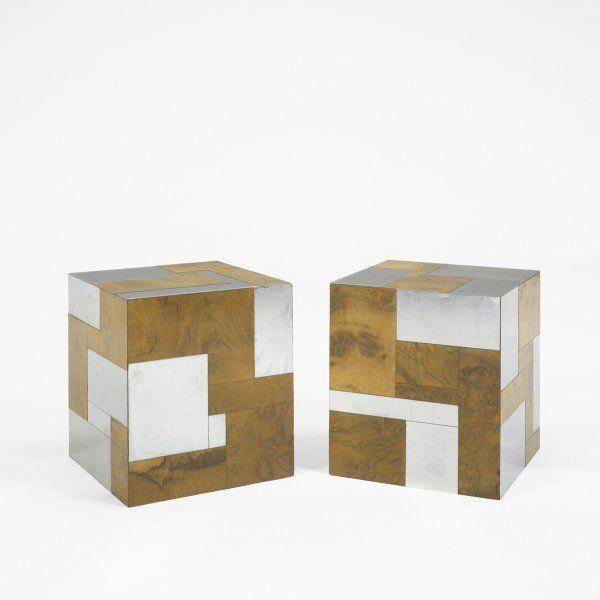 603: Paul Evans Cityscape cube tables, pair