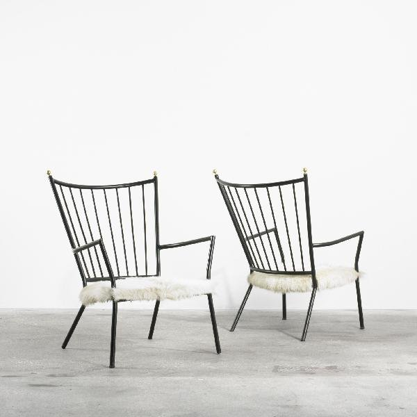 118: Colette Gueden lounge chairs, pair