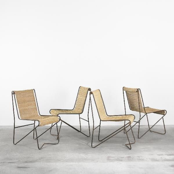 123: Matégot Casablanca dining chairs, set of four