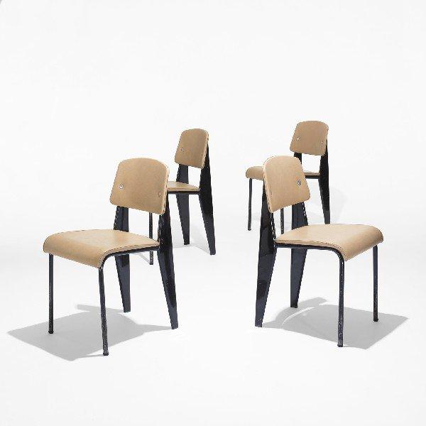 100: Jean  Prouvé Standard chairs no. 305, set of four