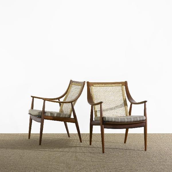111: Hvidt and Mølgaard-Nielsen lounge chairs, pair