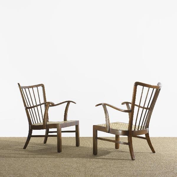 114: Søren Hansen lounge chairs model 1628, pair