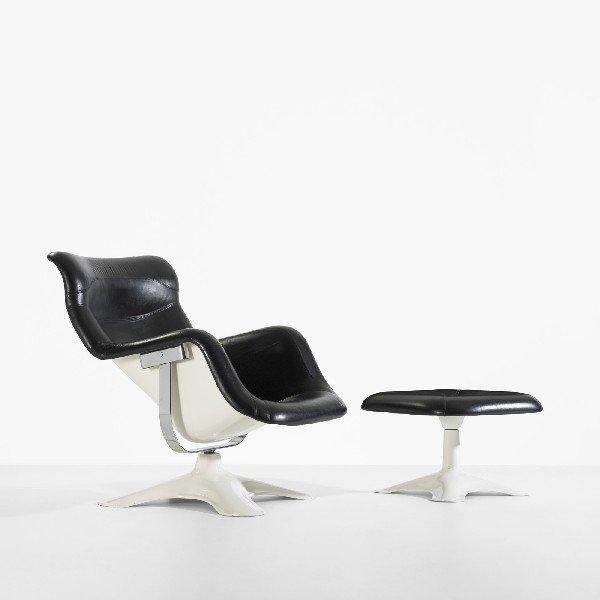 341: Yrjo Kukkapuro lounge chair and ottoman