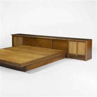 145: Nakashima King-size headboard and platform bed