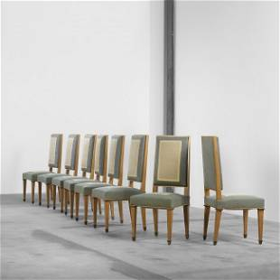 251: Jacques Adnet and Gilbert Poillerat dining chairs