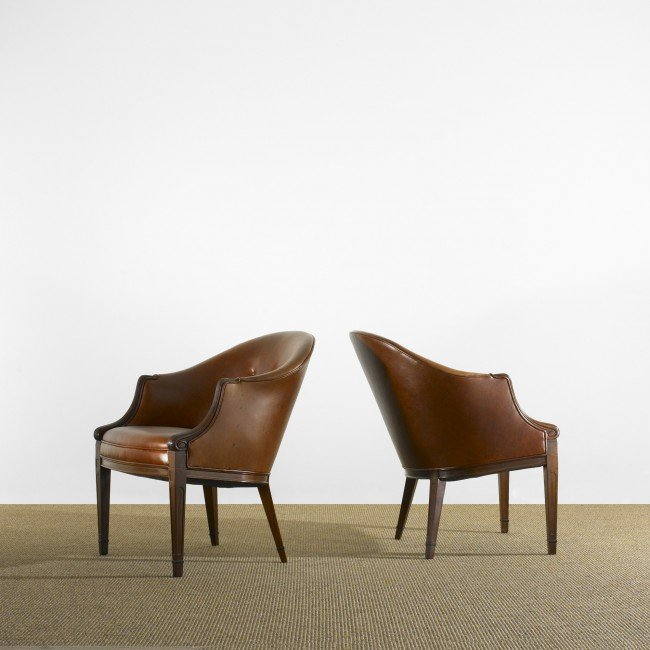 111: Frits Henningsen lounge chairs, pair
