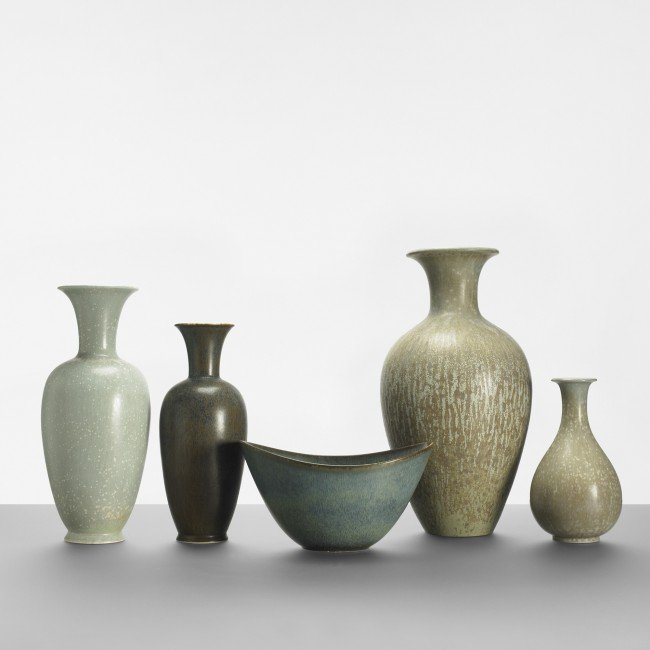 116: Gunnar Nylund collection of five vases
