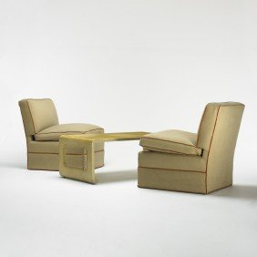Paul Frankl, Attribution Coffee Table And Pair Of