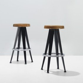 After Jean Prouv� Stools, Pair