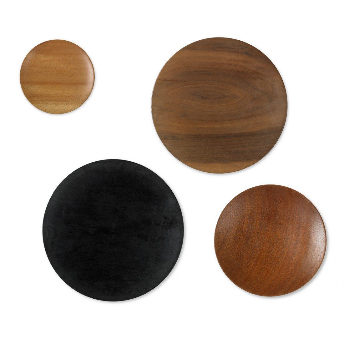 136: Prestini collection of four turned-wood plates