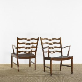 101: Ole Wanscher armchairs, pair