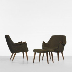 In The Manner Of Hans Wegner Chairs With Ottoman