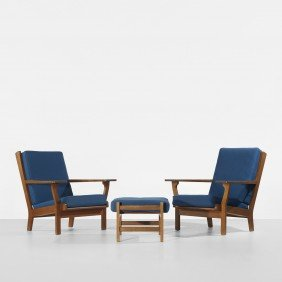Hans Wegner Pair Of Lounge Chairs And Ottoman