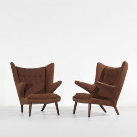 121: Hans Wegner Papa Bear chairs, pair