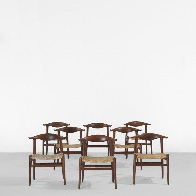 124: Hans Wegner Cow Horn chairs, set of eight