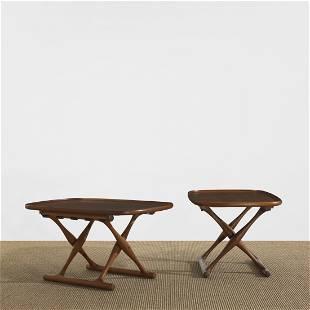 250: Poul Hundevad Guldhoj folding tables, pair