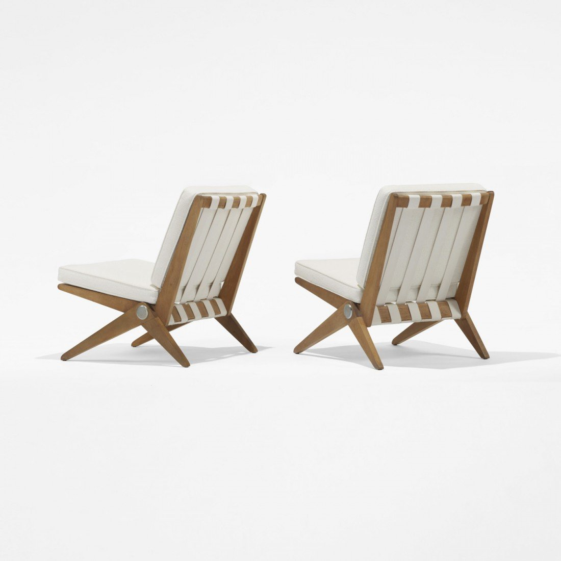 148: Pierre Jeanneret Scissor chairs, pair