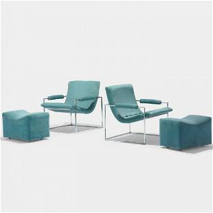 393: Milo Baughman lounge chairs and ottomans, pair