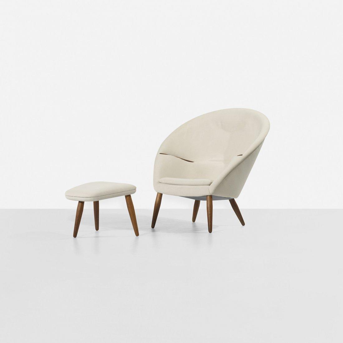 102: Nanna Ditzel rare lounge chair and ottoman