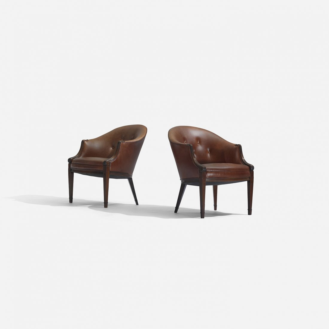 133: Frits Henningsen lounge chairs, pair