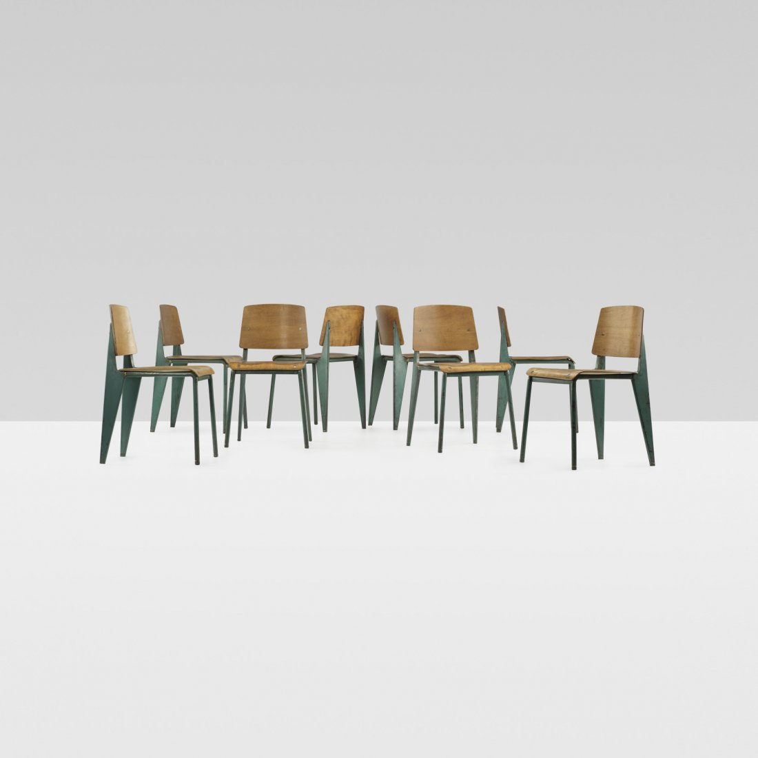 118: Jean  Prouvé No. 4 chairs, set of eight