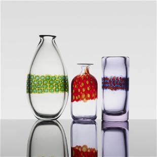 247: Antonio da Ros Murrine vases, set of three