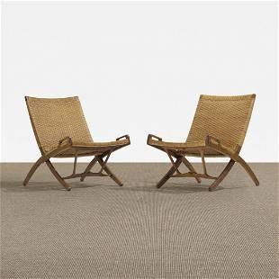 121: Hans Wegner folding chairs, pair