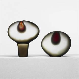 368: Alfredo Barbini Vetro Pesante Sasso vases, pair