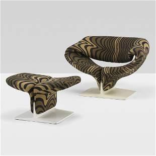 407: Pierre Paulin Ribbon chair and ottoman