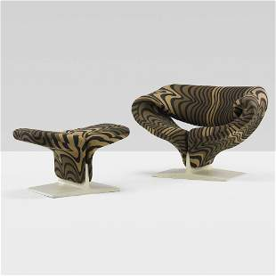408: Pierre Paulin Ribbon chair and ottoman