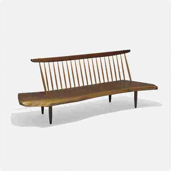 George Nakashima Conoid bench with Back