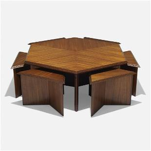 Frank Lloyd Wright table and set of six stools