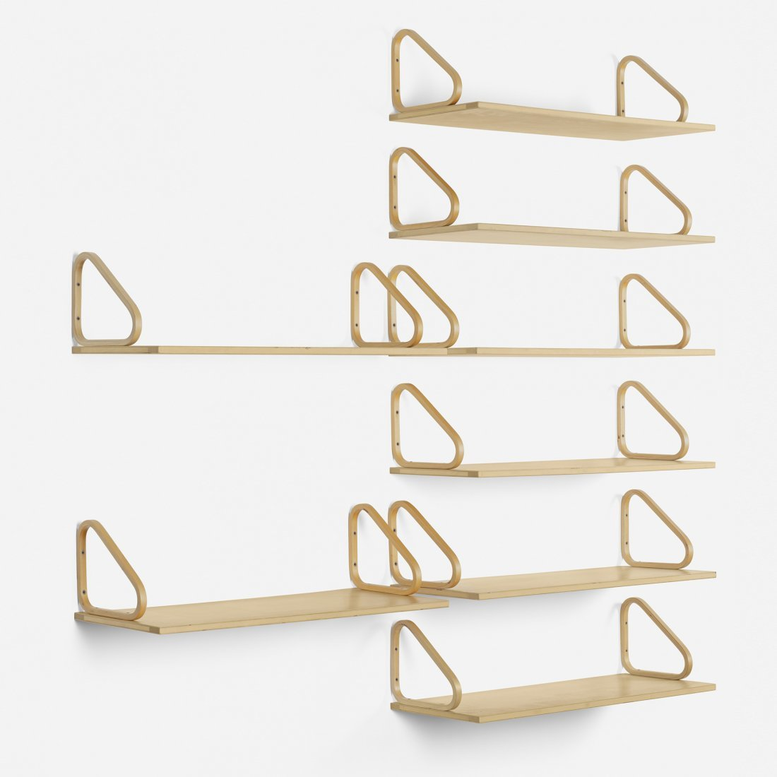 Alvar Aalto wall shelves, collection of eight