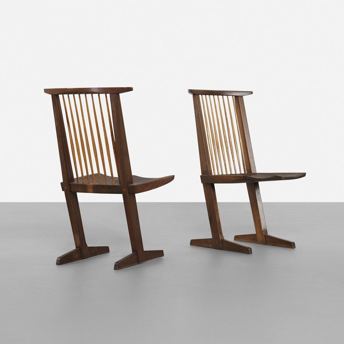 George Nakashima Conoid dining chairs, pair