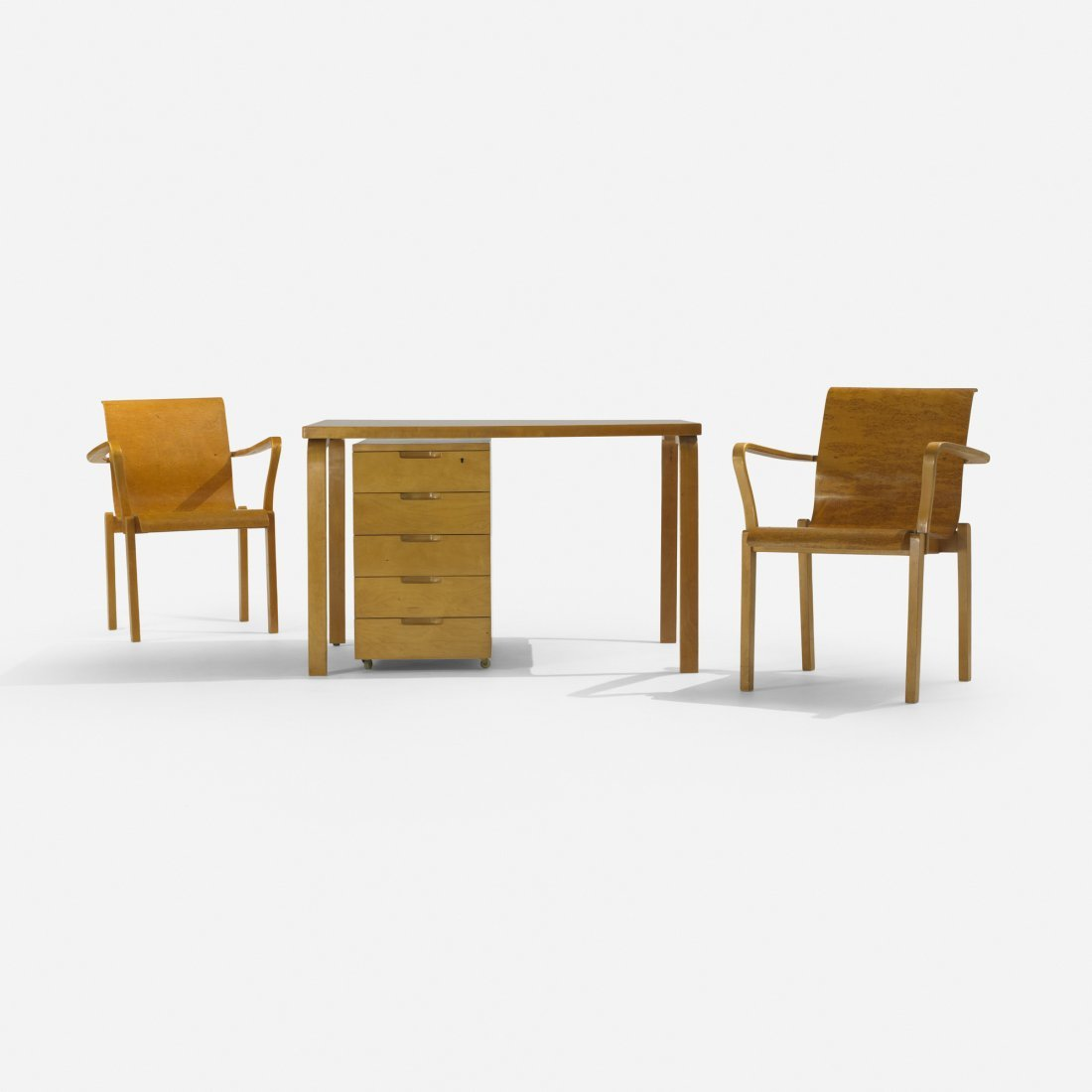 Alvar Aalto L-leg desk, return and pair of chairs