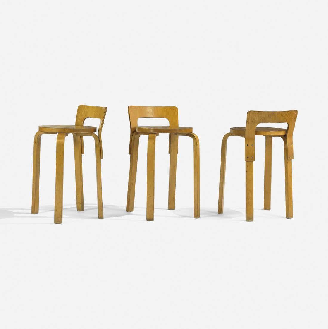 Alvar Aalto L-leg stools, set of three