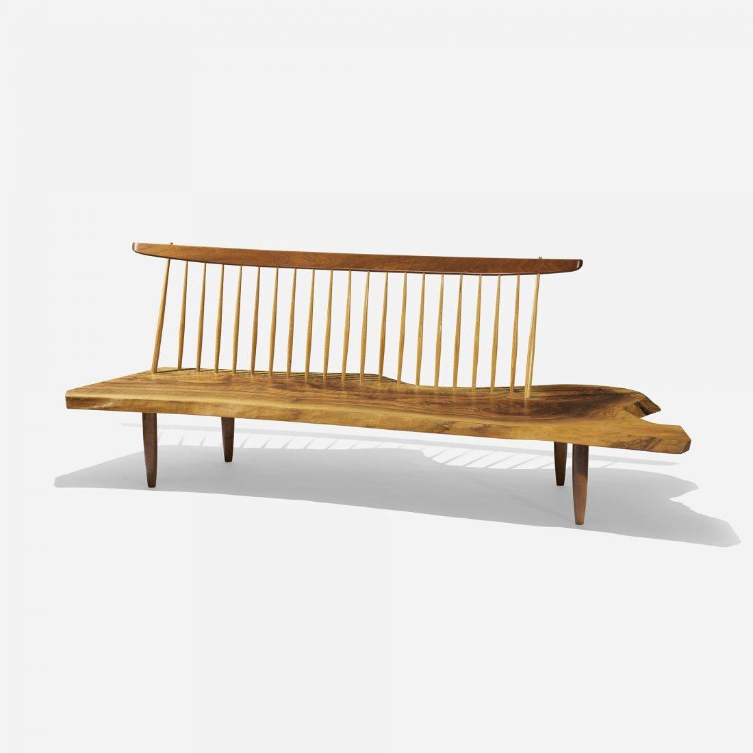 George Nakashima Conoid bench with spindle back
