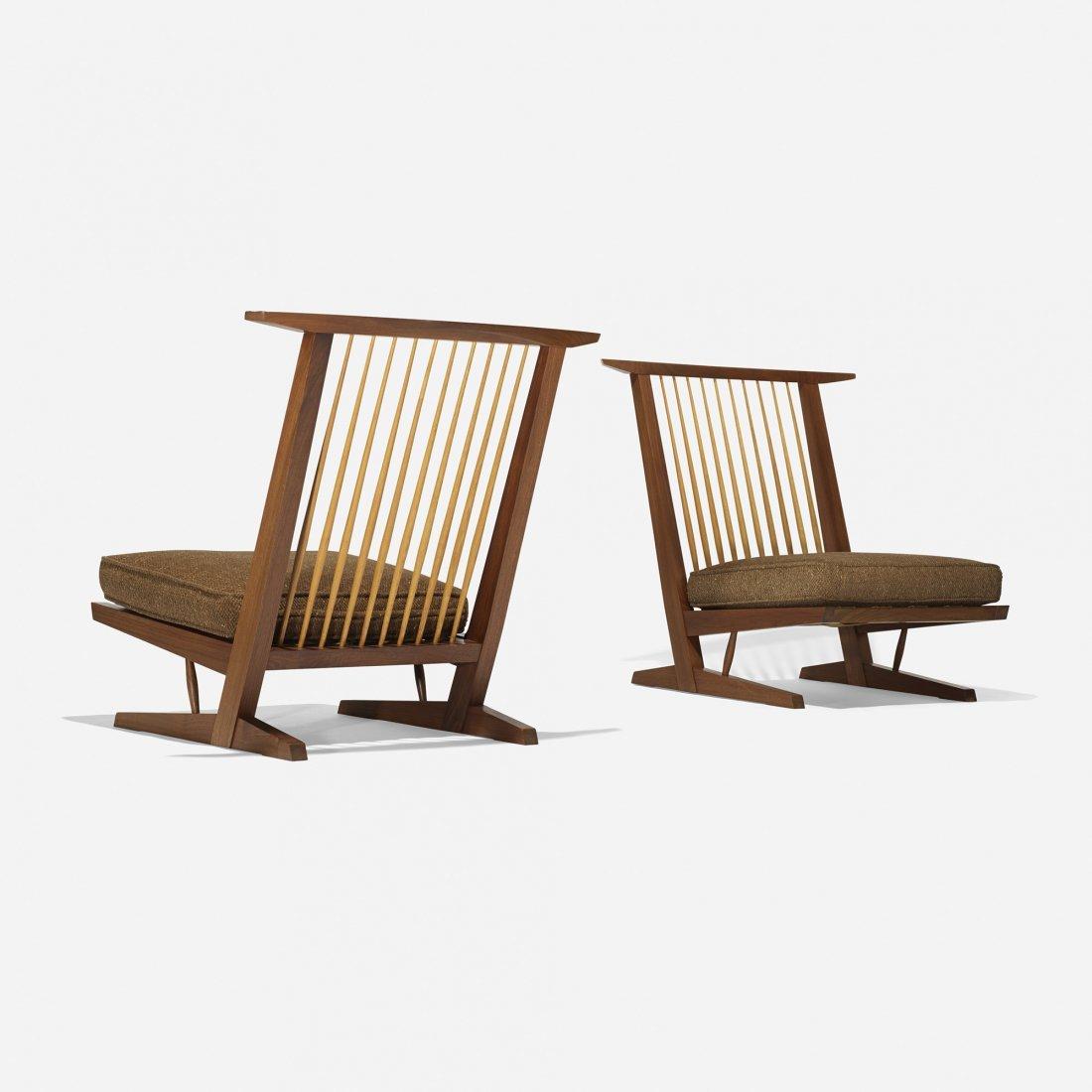 George Nakashima Conoid Cushion chairs, pair