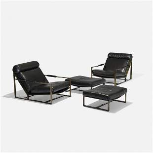 Milo Baughman lounge chairs and ottomans, pair