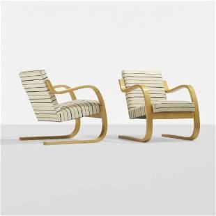 Alvar Aalto Cantilevered armchairs, pair