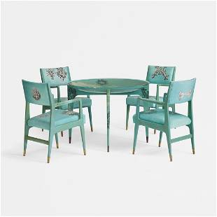 Ponti and Fornasetti Madrepore dining suite