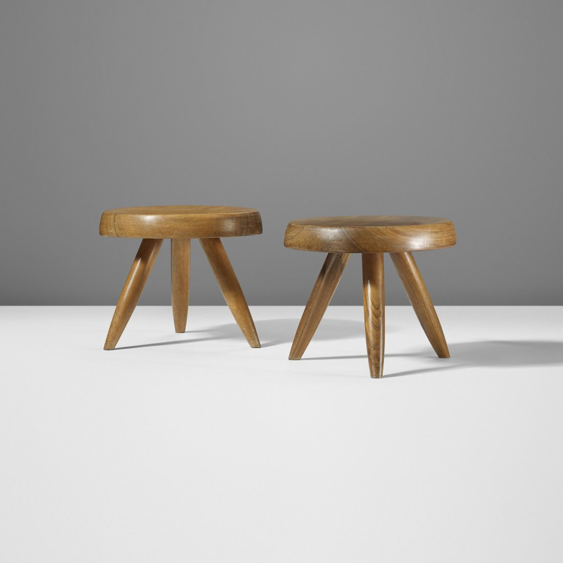 Charlotte Perriand low stools, pair