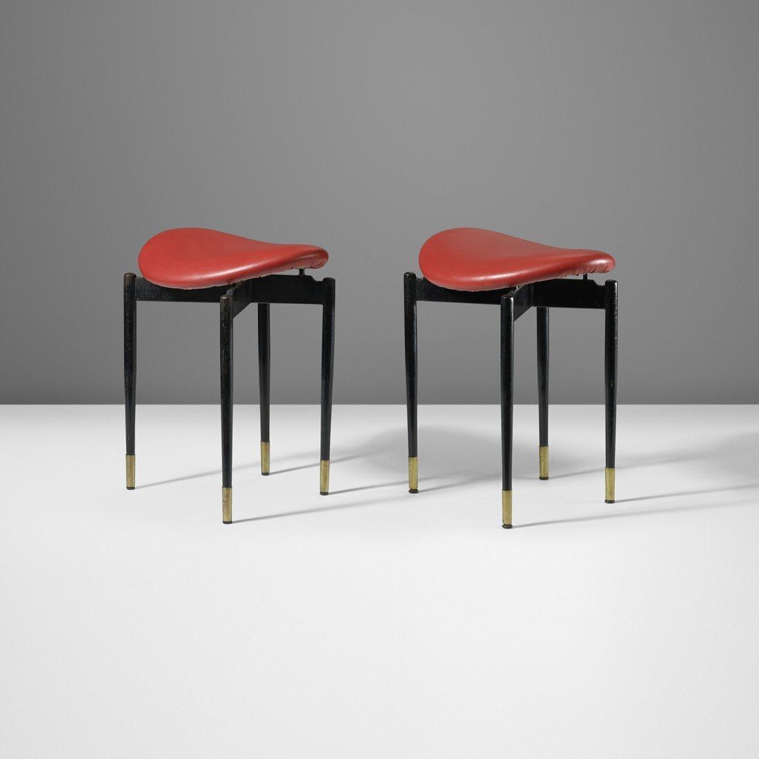 Carlo Mollino pair of stools from Lutrario Hall, Turin